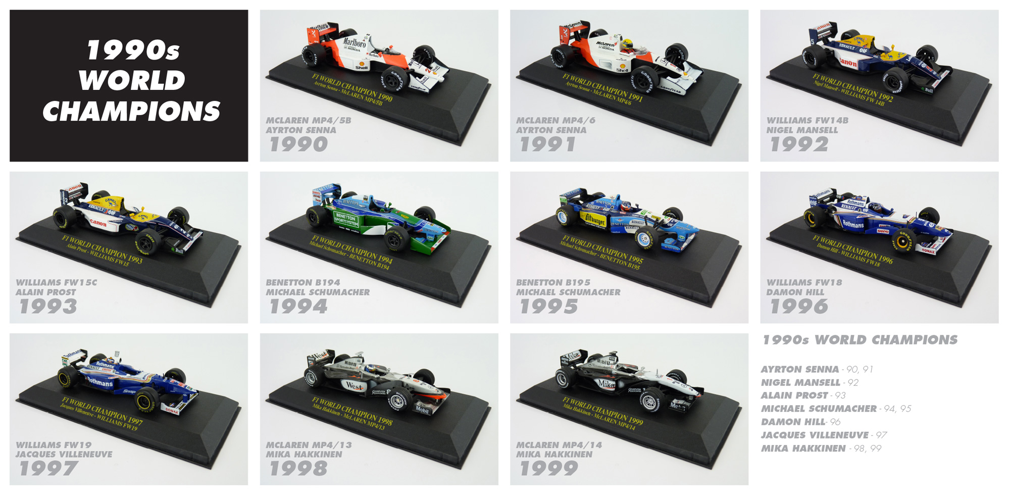 1990s F1 World Champions Diecast Collection