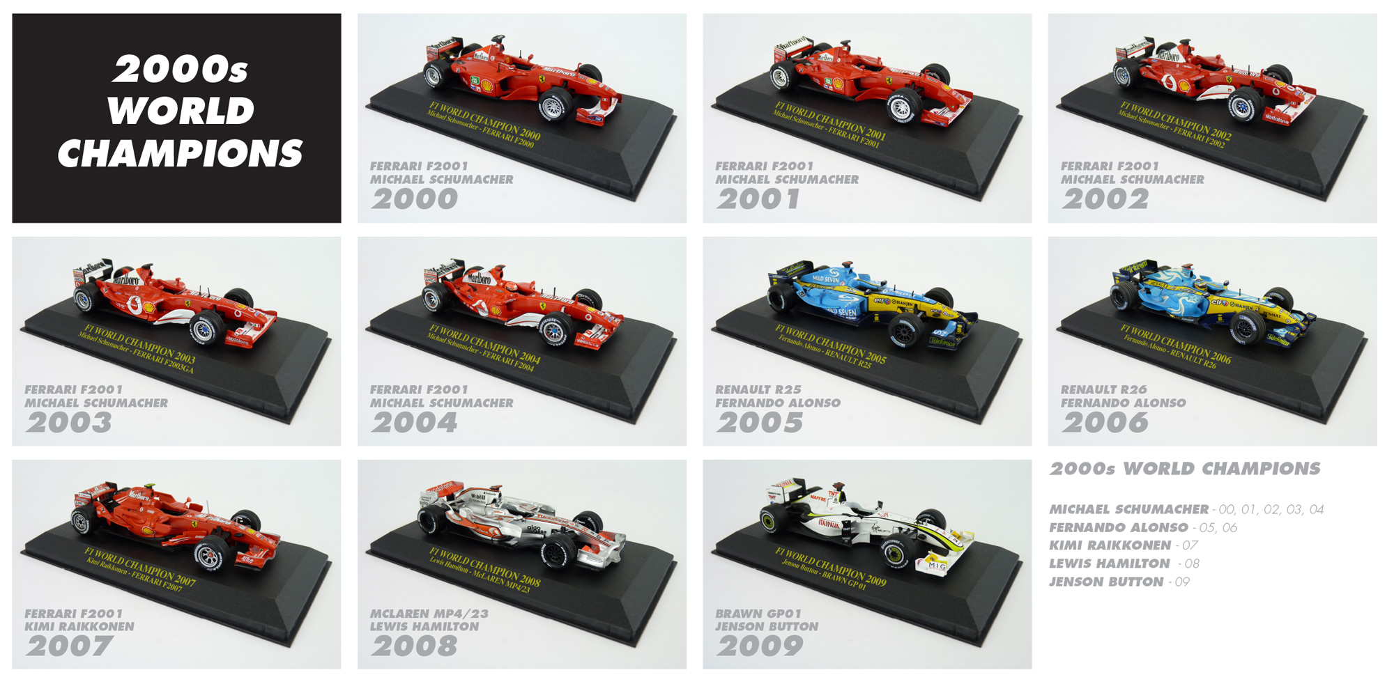 2000s F1 World Champions Diecast Collection